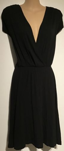 ASOS BLACK JERSEY BASIC WRAP CHEST DRESS SIZE 10